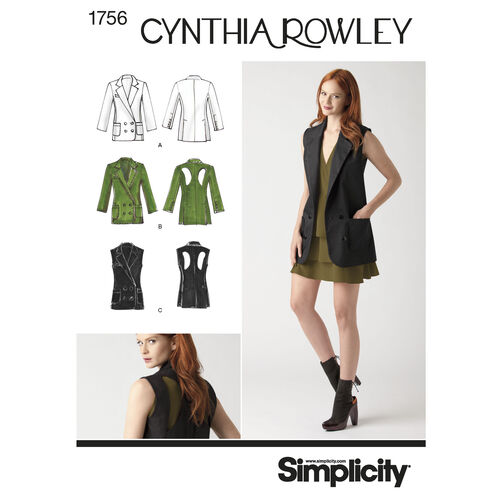 Simplicity Pattern 1756 Misses' Jacket, Cynthia Rowley Collection