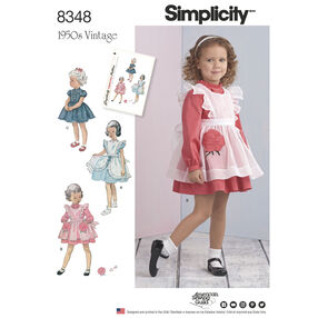Simplicity Pattern 8348 Vintage 1950s Toddlers' Dress and Pinafore