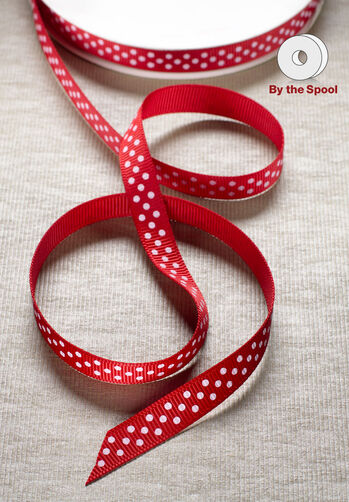 "10 yd. of 3/8"" Grosgrain Swiss Dot"