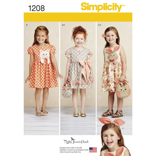 Simplicity Pattern 1208 Child's Dresses, Purses and Headband