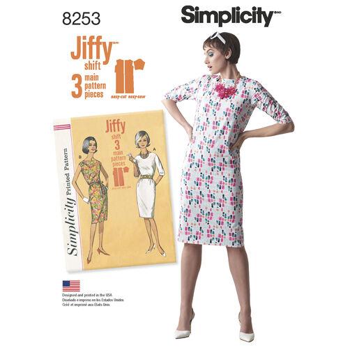 Simplicity Pattern 8253 Misses' Vintage 1960s Jiffy Dresses