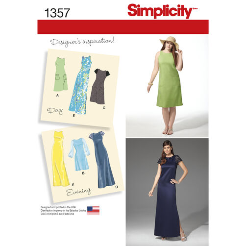 Simplicity Pattern 1357 Misses' & Plus Size Dress in Two Lengths