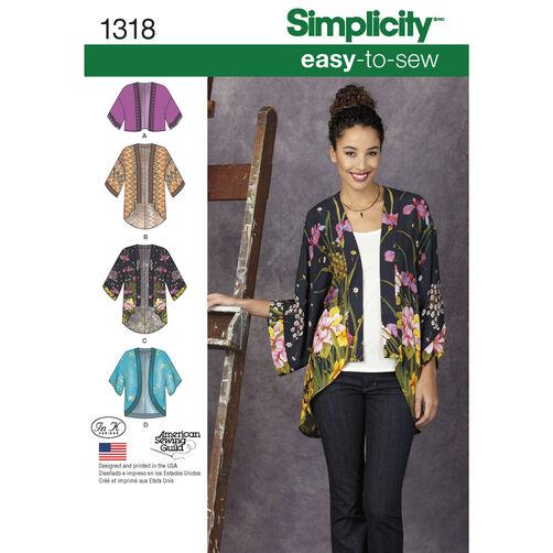 Simplicity Pattern 1318 Misses' Kimono Jackets
