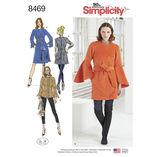 Simplicity Pattern 8469 Misses' Coat and Vest with Length ...