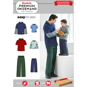 Simplicity Pattern EA370701 Premium Print on Demand Men's/Boys' Knit Top and Pants