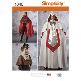 Simplicity Pattern 1040 Misses' and Men's Cape Costumes