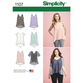 Simplicity Pattern 1107 Misses' Tops with Fabric Variations