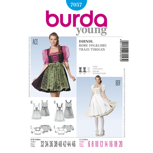 Burda Style Pattern 7057 Folklore Dress