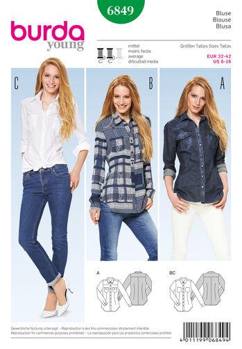 Burda Style Pattern 6849 Tops, Shirts, Blouses