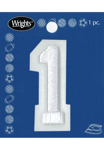 "2"" Raised Embroidery Number Applique, White"