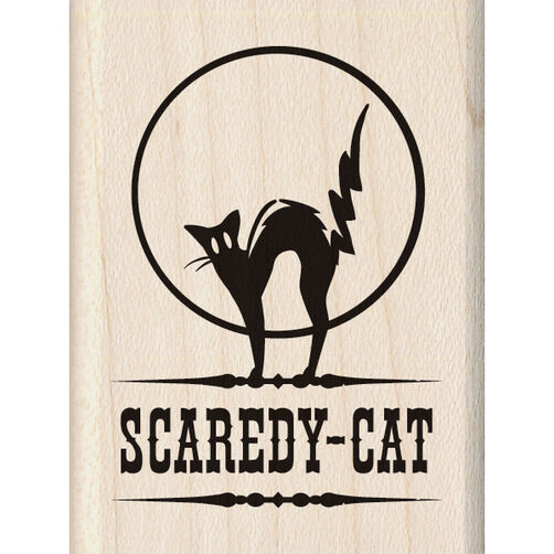 Scaredy Cat Wood Stamp_60-00924