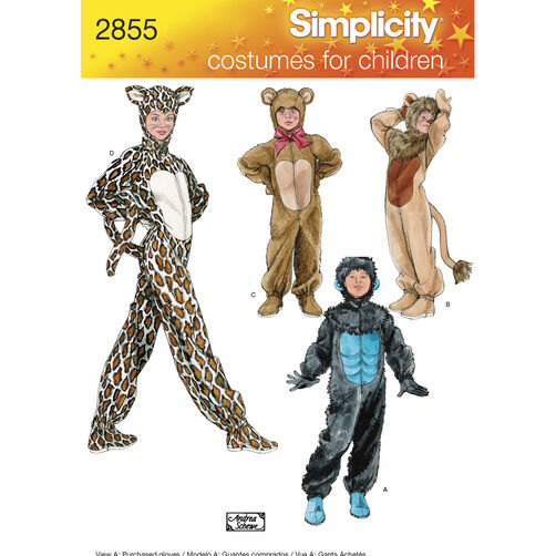 Simplicity Pattern 2855 Child, Boy & Girl Animal Costumes