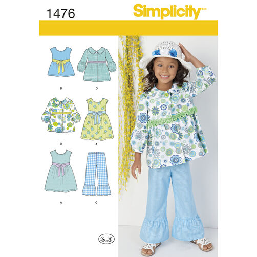 Simplicity Pattern 1476 Child's Dress, Top, Pants and Jacket