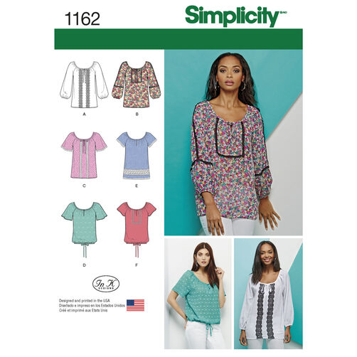 Simplicity Pattern 1162 Misses' Blouse with Sleeve, Length and Trim Variations