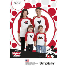 Simplicity Pattern 8223 Child's and Adults Knit Tops with Disney Appliques