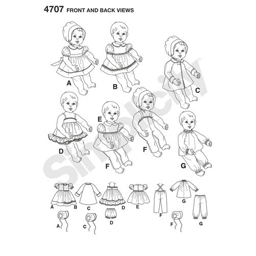 Pattern for 1950's Vintage Baby Doll Clothes In 3 Sizes
