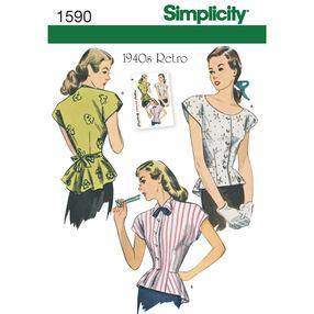Simplicity Pattern 1590 Misses' 1940's Retro Blouse