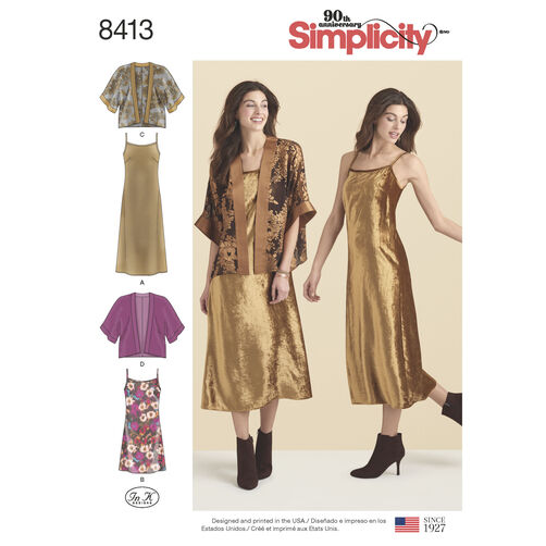 Simplicity Pattern 8413 Misses' Slip Dress in Two Lengths and Kimono