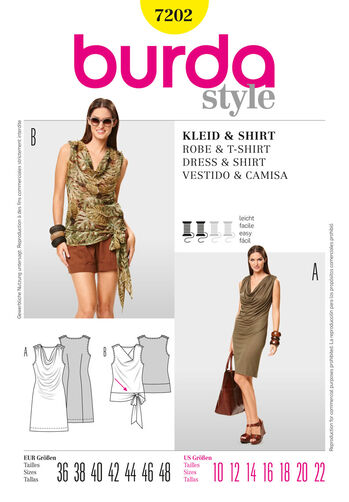 Burda Style Pattern 7202 Dress & T-Shirt