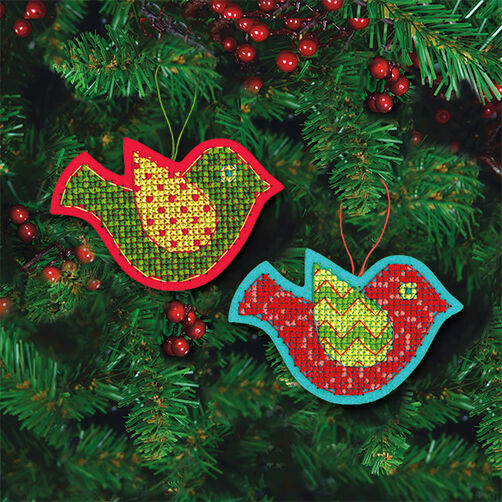 Jolly Bird Ornaments in Counted Cross Stitch_72-08240