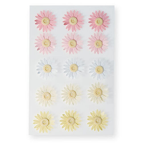 Pink And Yellow Dimensional Daisy Stickers_M355007
