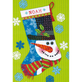 Patterned Snowman Stocking, Needlepoint_71-09155