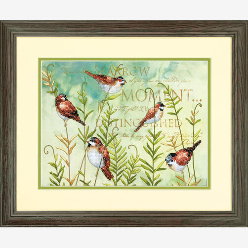 Birds on Ferns Stamped Cross Stitch_70-03248