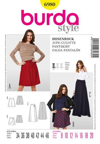 Burda Style Pattern 6980 Pantskirts