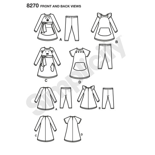 Simplicity Pattern 8270 Toddlers' Knit Sportswear from