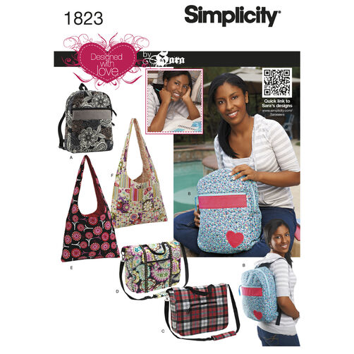 Simplicity Pattern 1823 Bags Designed with Love by Sara
