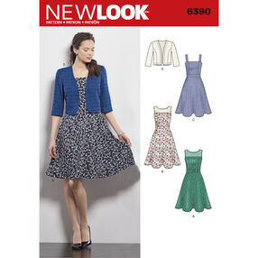New Look Pattern 6390 Misses' Dresses with Full Skirt and Bolero