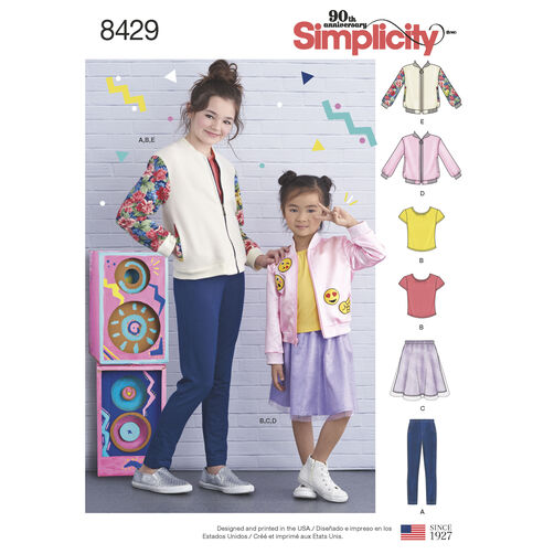 Simplicity Pattern 8429 Child's/Girls' Bomber Jacket, Skirt, Leggings and Top
