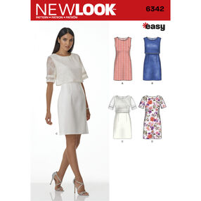 New Look Pattern 6342 Misses' Dress with or without Overbodice