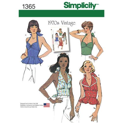 Simplicity Pattern 1365 Misses' Vintage Halter Tops