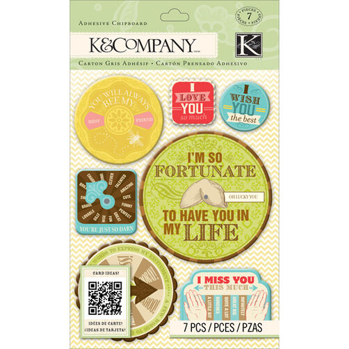 K&Company Beyond Postmarks Letterpress Spinners Adhesive Chipboard_30-657939