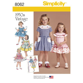 Simplicity Pattern 8062 Vintage 1950s Dress for Toddler and Child