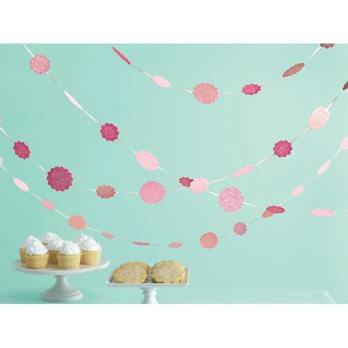 Pink Glittered Hanging Dots Garland_44-10077