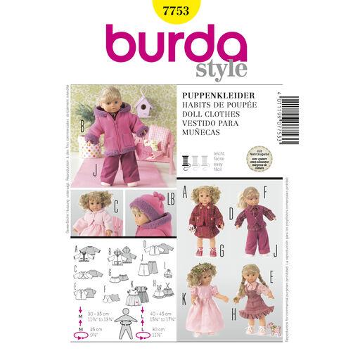 Burda Style Pattern 7753 Doll Clothes