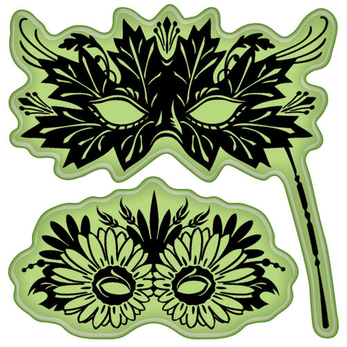 Leaves Venetian Masks Cling Stamps_60-60166