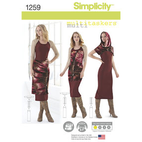 Simplicity Pattern 1259 Misses' Easy Knit Pieces, Multitaskers Collection.