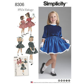 Simplicity Pattern 8306 Child's Vintage 1950s Dress and Lined Jacket
