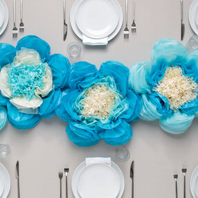 Light Blue Pansies Tissue Flower Pom Pom Kit