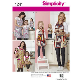 "Simplicity Pattern 1241 Aprons for Misses, Child, and 18"" Doll"