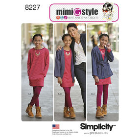 Simplicity Pattern 8227 Mimi G Style Girls' and Girls' Plus Jacket Dress and Knit Leggings