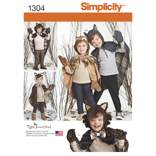 Simplicity Pattern 1304 Child's Lined Animal Cape Costumes