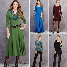 Misses' & Petite Size Knit Dresses, Tunics, Pant & Cowl