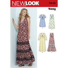 New Look Pattern 6448 Misses' Easy V-Neck Dresses
