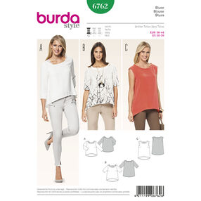 Burda Style Pattern 6762 Tops, Shirts, Blouses
