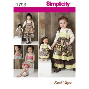 "Simplicity Pattern 1793 Child's Dress Set and 18"" Doll Dress"