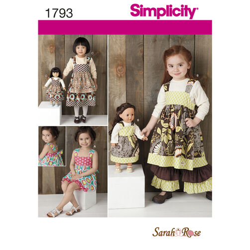 "Simplicity Pattern 1793 Child's Dress Set and 18"" Doll Dress"